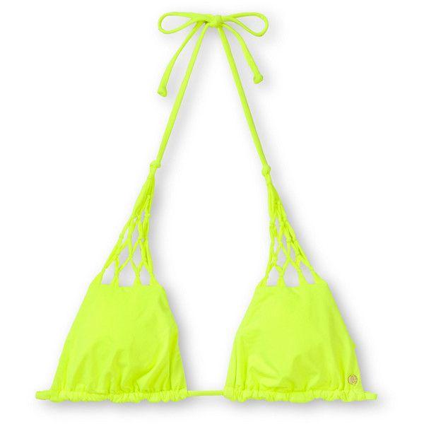 Billabong Sammy Neon Yellow Triangle Bikini Top ($42) ❤ liked on Polyvore featuring swimwear, bikinis, bikini tops, bikini, swim, neon, halter swim top, macrame bikini top, halter bikini and swimsuits tops