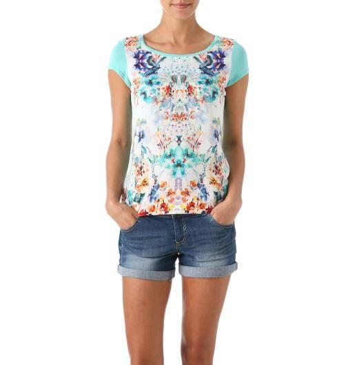 T-shirt imprimé Femme imprimé turquoise - Promod
