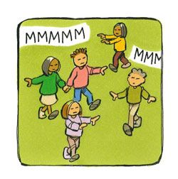 zoemkring         GAME: KIDS WITH EYES CLOSED, MAKING BUZZING NOICES ONLY, NEED TO FIND OTHER CHILDREN IN ROOM, ONCE THEY ARE HOLDING HANDS WITH 2 OTHERS THEY CAN OPEN EYES AND HELP THE OTHERS, BUT NO TALKING.