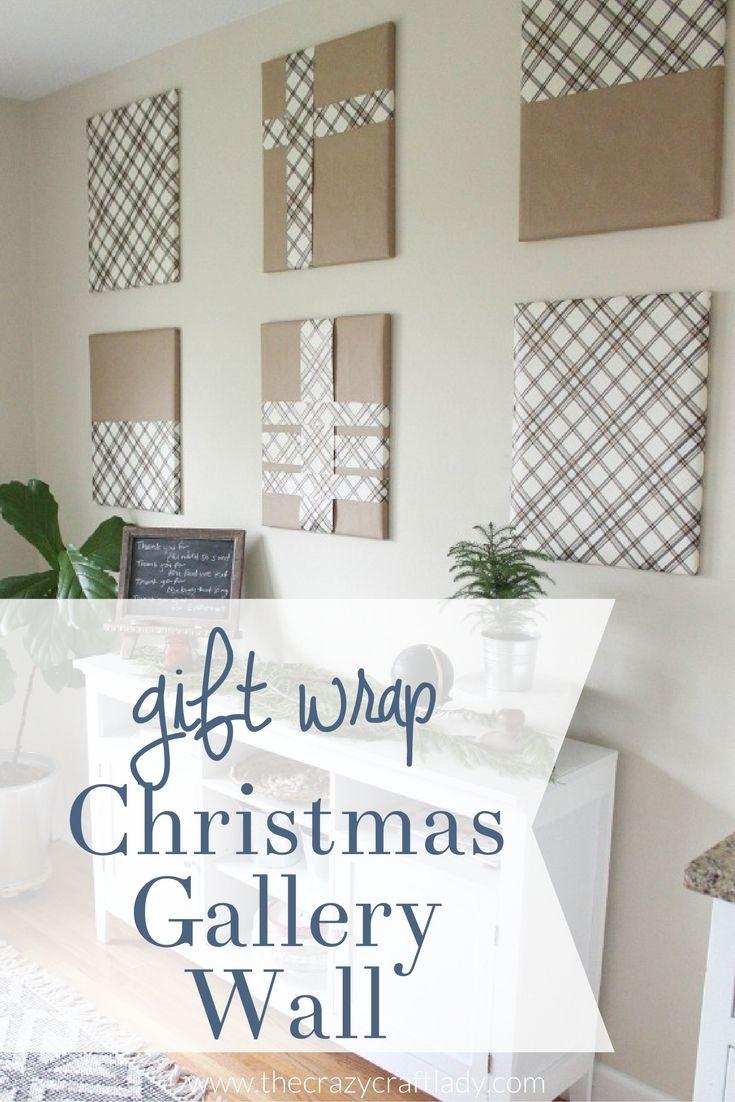 Hometalk diy christmas window decoration - Christmas Gallery Wall With Gift Wrap