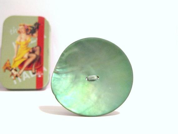 Light green button brooch