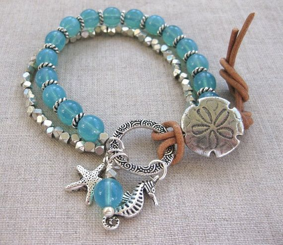 Aqua Sand Dollar - Silver & Aqua Coastal Charm Bracelet, Multi Strand Bracelet by SeaSide Strands