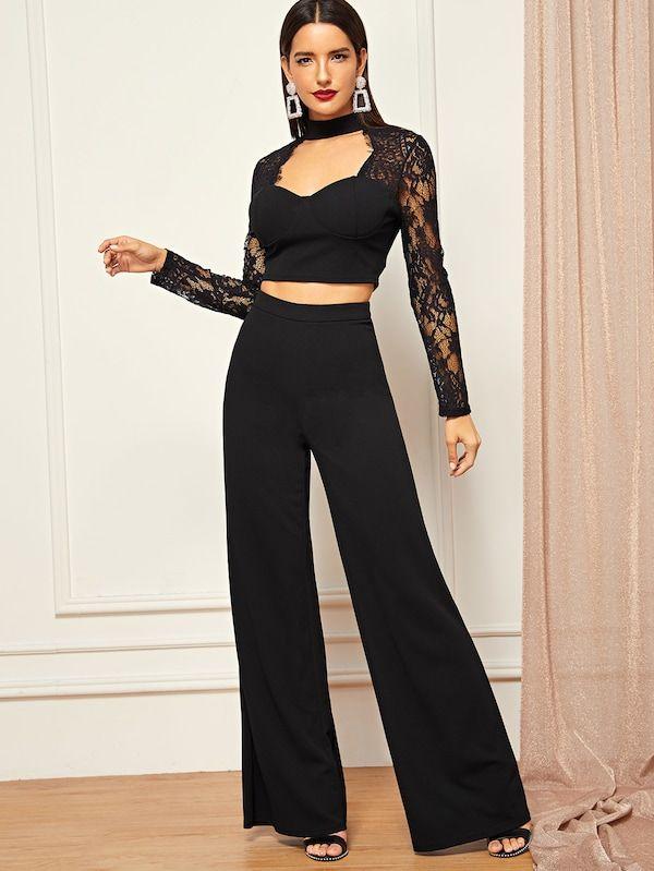 Conjunto Top Corto Con Encaje En Contraste De Parte Delantera Abierta Con Pantalones Anchos Wide Leg Pants Two Piece Outfit Fashion