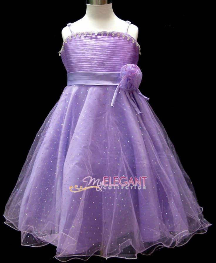 Purple Roses Wedding Bridesmaid Flower Girls Dress Pageant Gown Size 10 Age 9-11