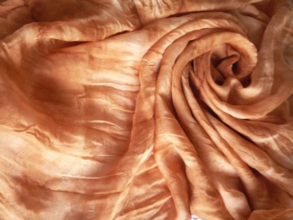 Lightweight silk scarf naturally dyed in reddish by Silkcraft