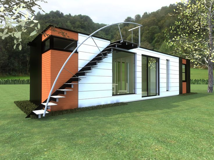 Concept for an interesting and colorful container home!