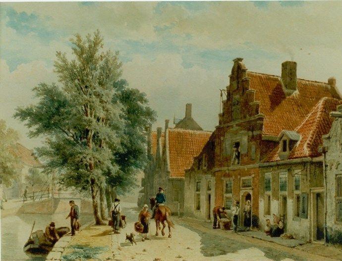 Cornelis Springer (Amsterdam 1817-1891 Hilversum) A view of the Burgwal, Haarlem - Dutch Art Gallery Simonis and Buunk Ede, Netherlands.