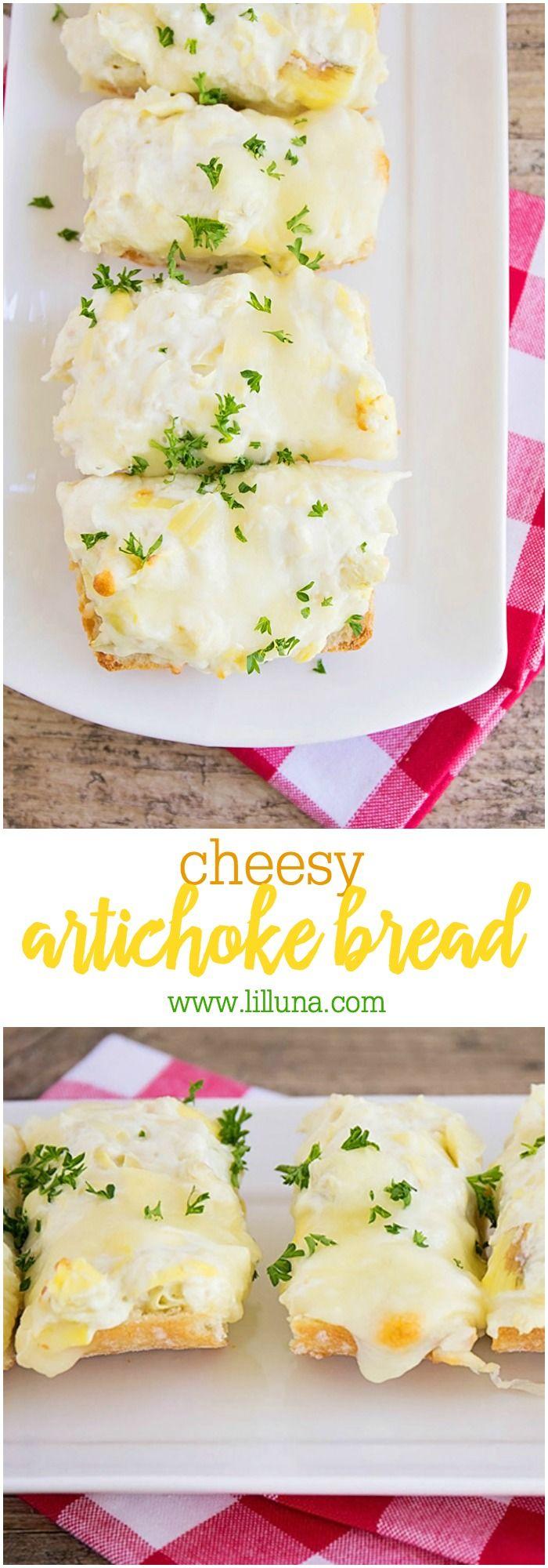 Cheesy Artichoke Bread Recipe - a must try recipe with ciabatta bread, artichokes and three kinds of cheeses!! { lilluna.com }