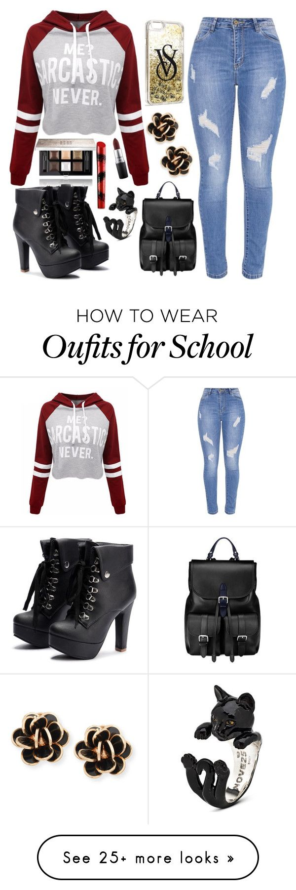"""""""School"""" by leaf-pic on Polyvore featuring WithChic, Aspinal of London, Victoria's Secret, Chantecler, Givenchy, MAC Cosmetics and Elizabeth Arden"""