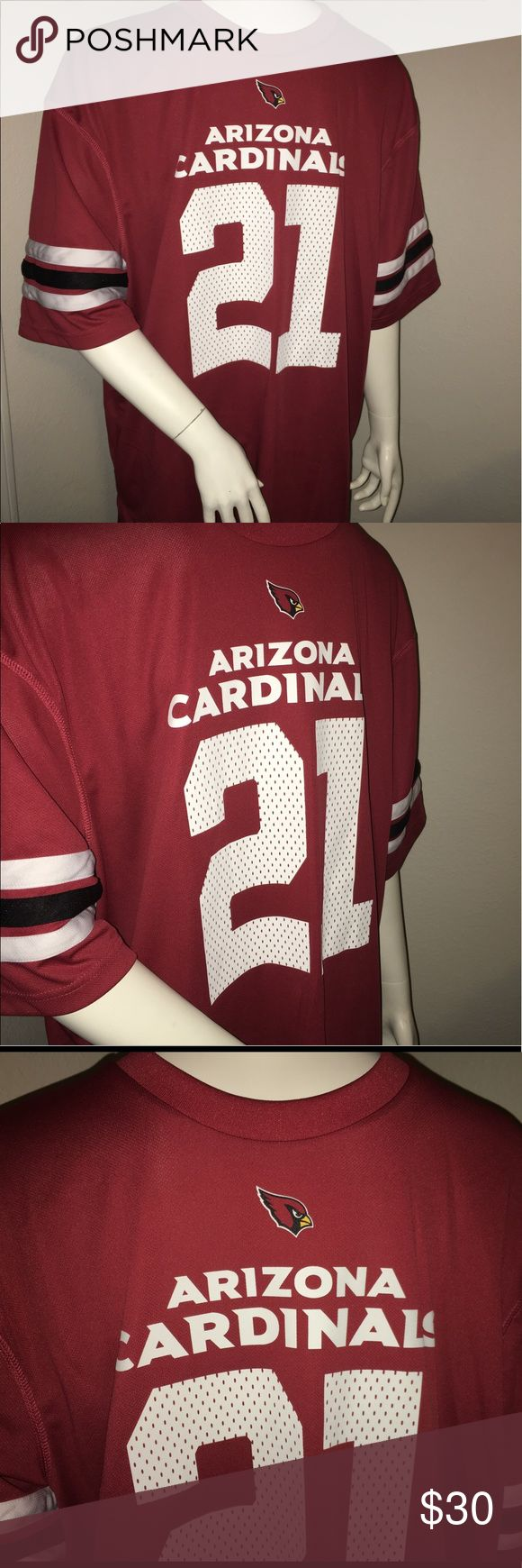 """Az Cardinals Patrick Peterson Jersey shirt XL Thank you for viewing my listing, for sale is a men's, Arizona Cardinals, red, short sleeve, jersey style T-shirt. This T-shirt has the material of a jersey has the screen print of a jersey but is a shirt.   Player: Patrick Peterson!  Sz: XL  If you have any questions or would like additional photos please feel free to ask.   From under one arm to under the other measures appx 25"""" from the top of the shoulder to the bottom of the shirt measures…"""