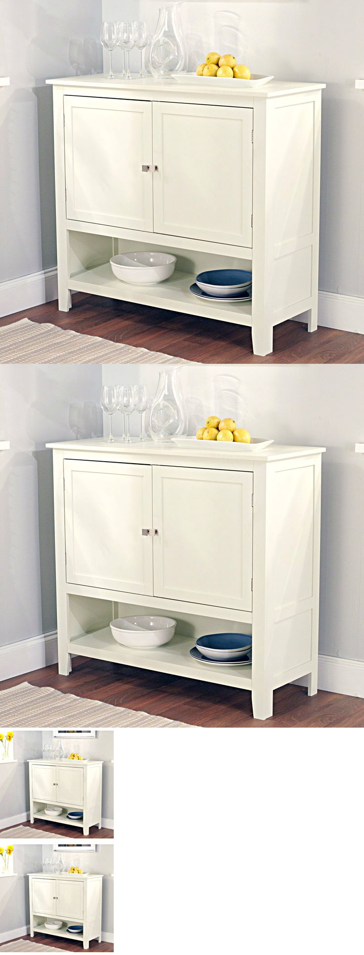 Sideboards and Buffets 183322: Small Kitchen Cabinet Buffet Server Table Sideboard Dining Room Doors Wood White -> BUY IT NOW ONLY: $168.99 on eBay!
