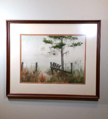 23x19 WATERCOLOR PAINTING Large Landscape Framed Watercolor Rustic Wall Art Farmhouse Cottage Decor Misty Bayou Country