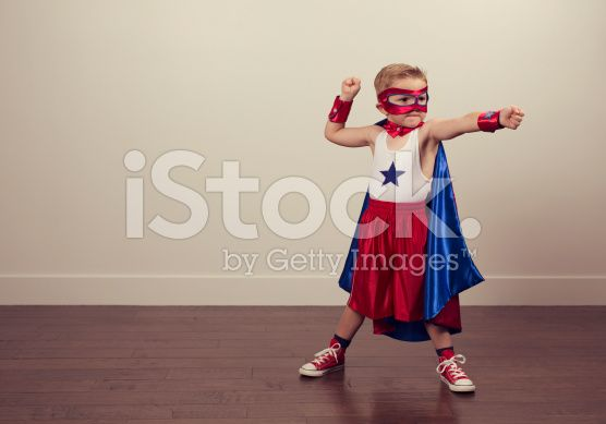young boy superhero - Dressing up the young boy in a superhero outfit made of a bathmat as a cape, a colander as a helmet etc, shows an analogue old school style but the child having the energy to go out there to achieve anything.   ANYTHING IS POSSIBLE.....