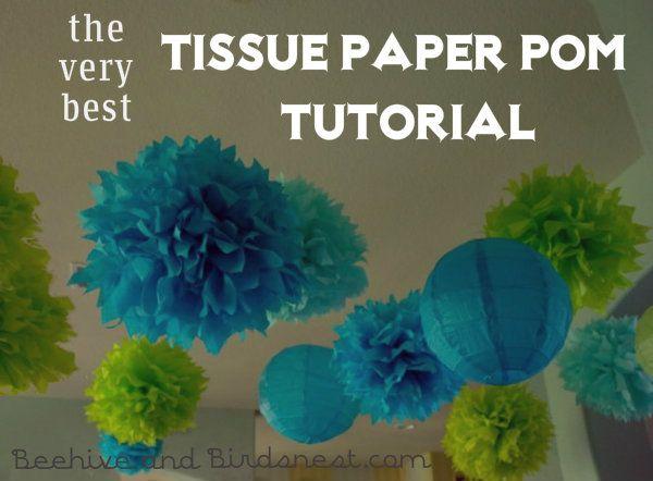 PomsCeilingTitle, Tissue Paper Pom Pom Flower Tutorial