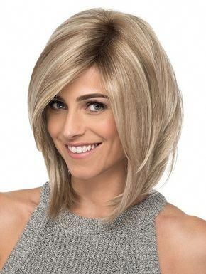 SKY BY ESTETICA on Sale   Buy Online, Wigs Ship Fast   FRONT LACE LINE WITH LACE PART   Medium Angled Layered Bob with Side Swept Bangs #bobhairstyles...