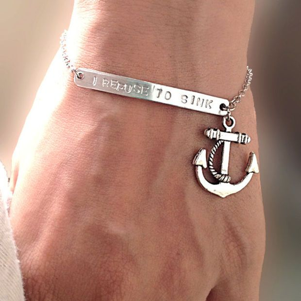 I Refuse to Sink ,Silver bar bracelet ,Chain Bracelet with Anchor,Personalized Hand Stamped Jewelry, Customized Gift for Her for Him