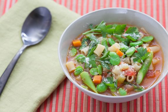 Spring Minestrone with Fresh Fava Beans & Asparagus. Visit https://www.blueapron.com/ to receive the ingredients.