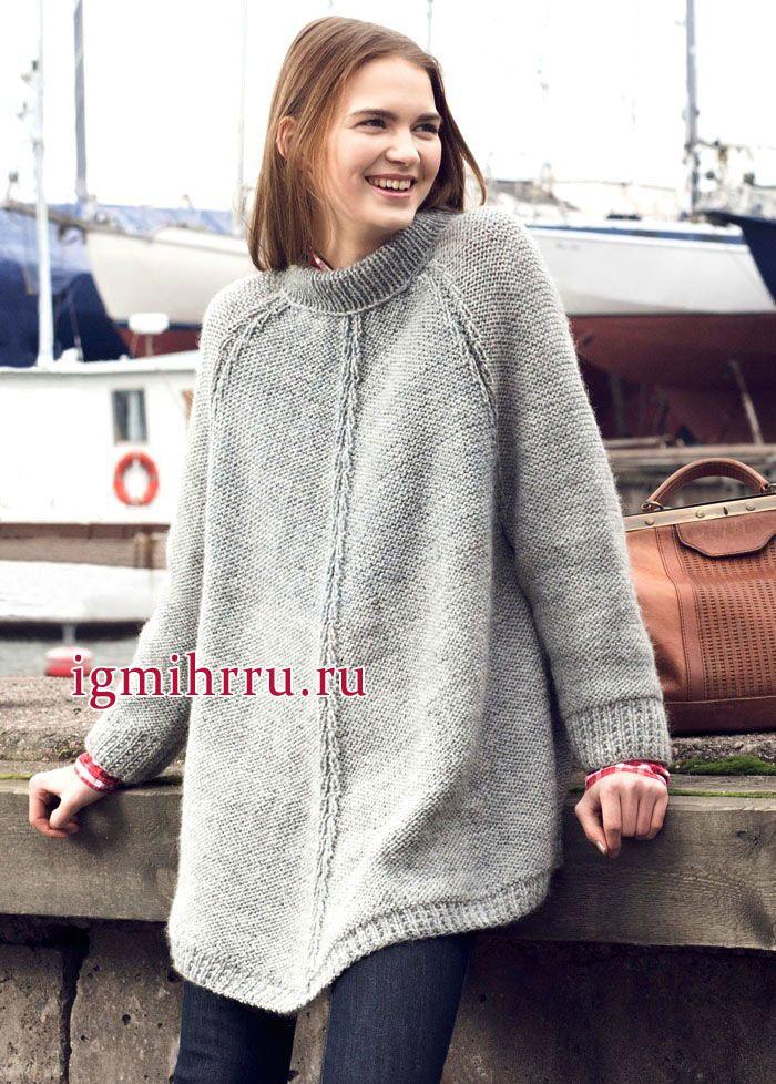 Удлиненный серый пуловер-пончо из чистошерстяной пряжи, от финских дизайнеров. Вязание спицами