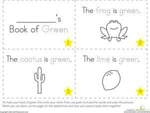 The Color Green Pre K WorksheetsPreschool