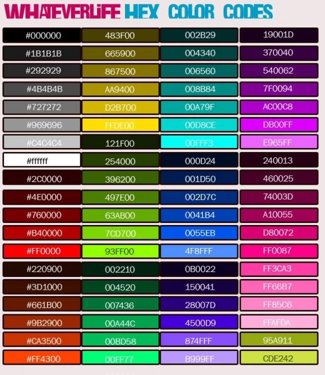 Myspace Color Code Chart Rgb Hexadecimal Color Codes