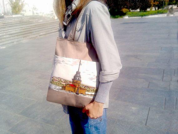 Tote Bag  Laptop Bag  Brown Handbag  Canvas Bag  by PeraMantica