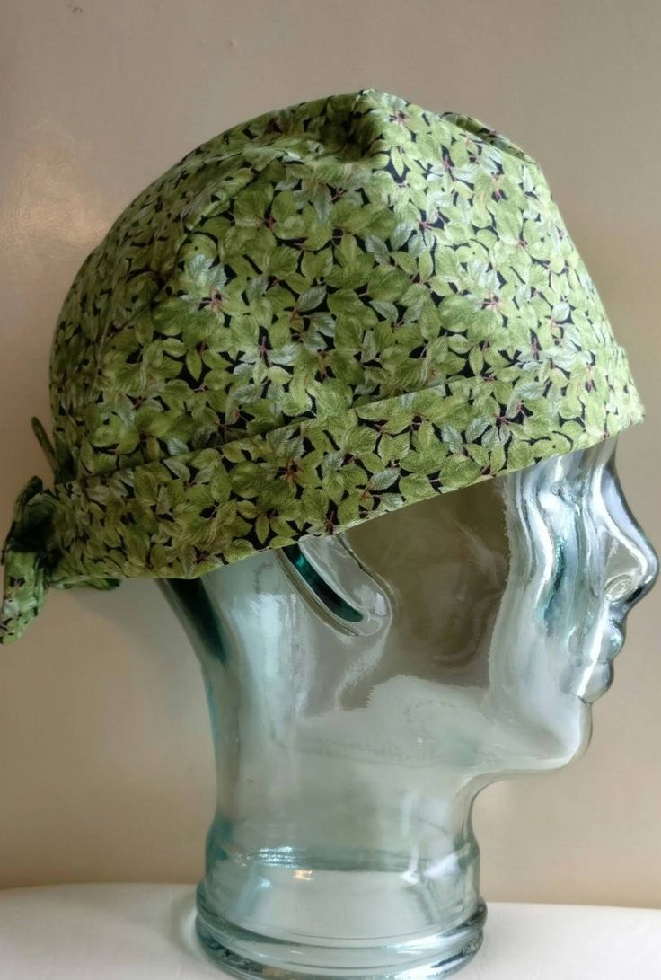 Green scrub hat, surgical scrub cap