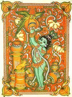 Kerala Mural krishna the butterthief in indian folk art style