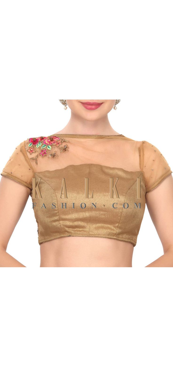 Buy this Intricate hand work gold and pink floral blouse only on Kalki