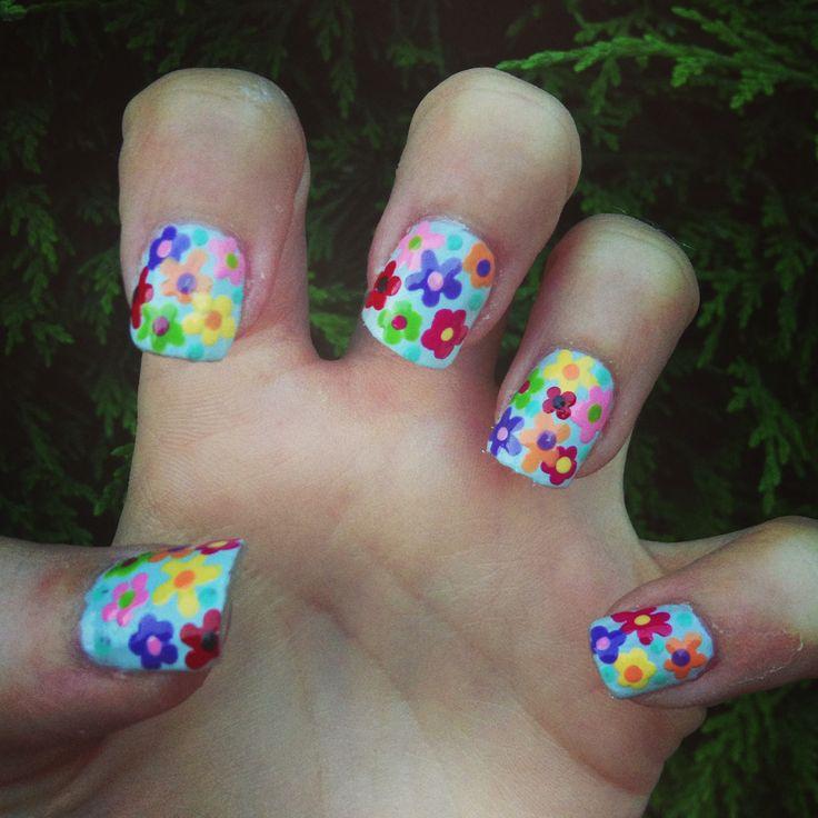 Nail art - summer florals ... See samantha-bullock.blogspot.co.uk for more nail art ideas
