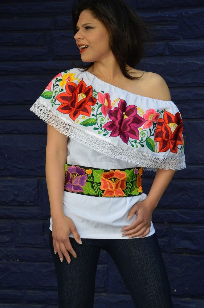 Mexican Off Shoulder Peasant Top Blouse /Tunic Embroidered Multicolor Flowers L #Handmade #Tunic #Casual
