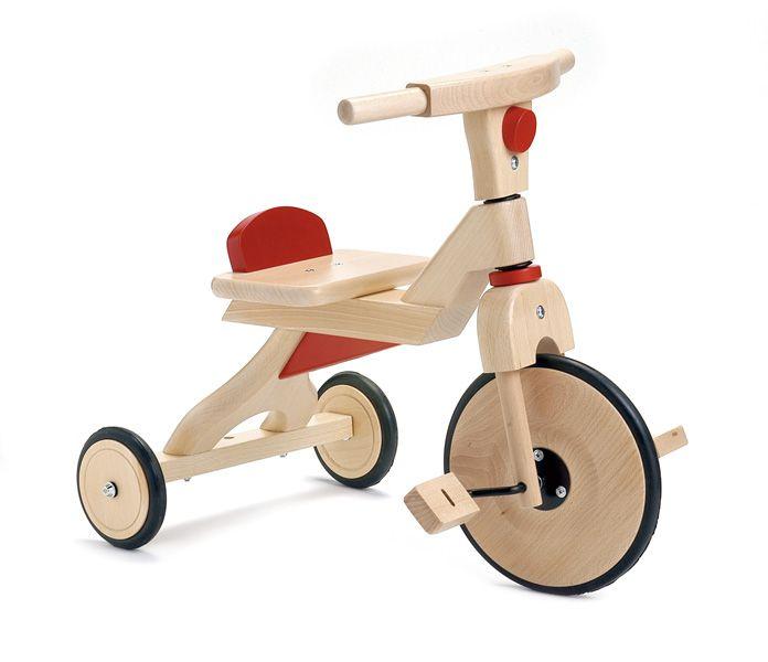 TRICICLO DE MADERA CON PEDALES ROJO Triciclo de madera con pedales . juguete de madera