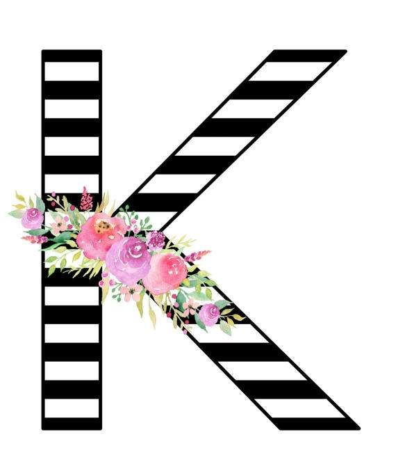 Black & White Stripes Floral Watercolor Monogram. Perfect to hang in the babys nursery or as a gift for family and friends.  This Listing is for monogram Letter K. All letters of the alphabet in the same design theme can be found in my shop. *** Instant Download*** The files come in high resolution Jpeg & PDF formats which can be printed easily at home or at your local print shop. Recommended paper is either high quality cardstock or photo paper.  File types: JPG & PDF Size: 8x10 ...