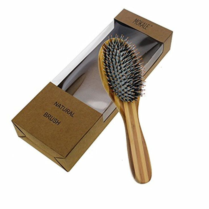Mokale Boar Bristle Hair Brush - Bamboo Brush for Shiny, Healthy Hair and Preventing Breakage, Damage Split Ends, Frizzy, Unmanageable Locks - Added Pins to Detangle & Scalp Stimulation. Eco-Friendly Paddle - Brought to you by Avarsha.com