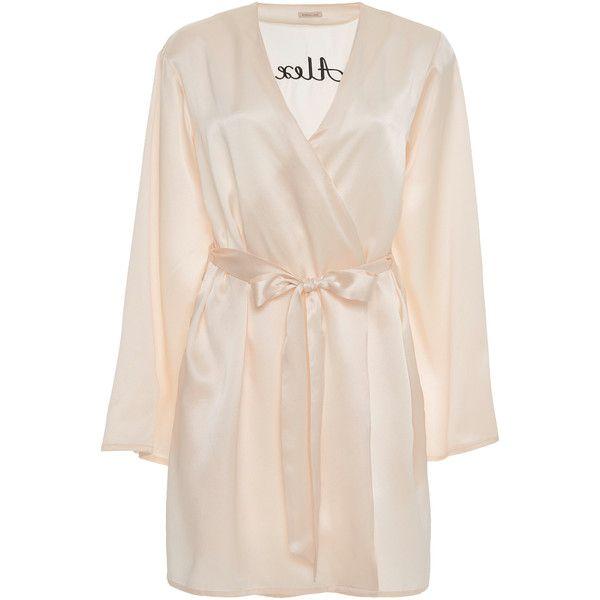 Langley Robe | Moda Operandi ❤ liked on Polyvore featuring intimates, robes, white silk robe, monogrammed silk robes, silk robe, white bath robe and silk bathrobe