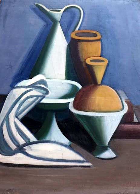 "Vilhelm Lundstrøm... ""He is remembered for his geometric still lifes with oranges, his cubistic scenes with nudes and his paintings of bottles, flasks and jugs. His style was characterised by clear, bright lines and few colours."""