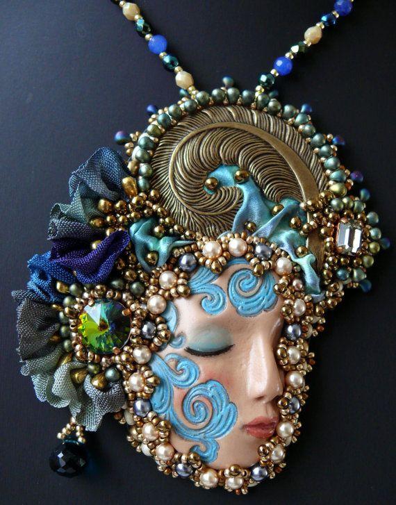 Bead embroidered Pendant necklace Shibori silk ribbon Beadwork Ooak seed beaded jewelry