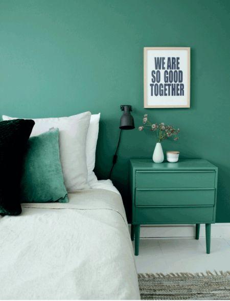 soveværelse i grøn / tone i tone / grafisk / DIY / nordic living / bedroom / colors / green / DIY