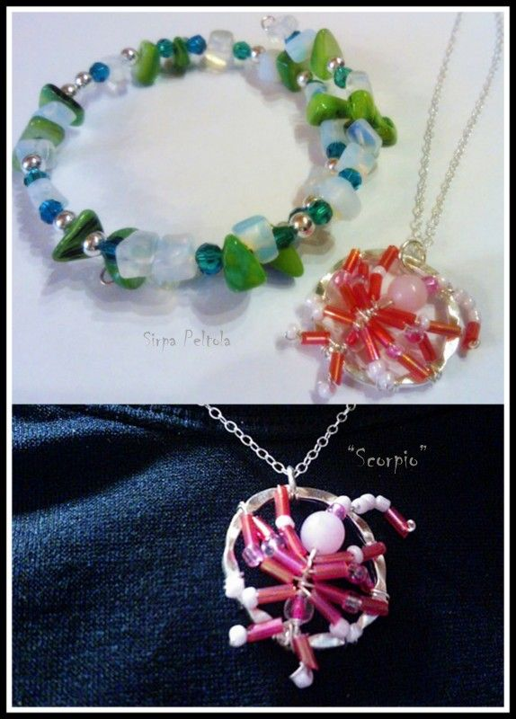 These are my birthday gifts to my ten-year-old girlfriend: Bracelet is made of memorywire, opal gemsones (one of her lucky stones) and different kind of green and silver-colored beads (favourite colors). The pink <3 scorpion is her star sign, of course.