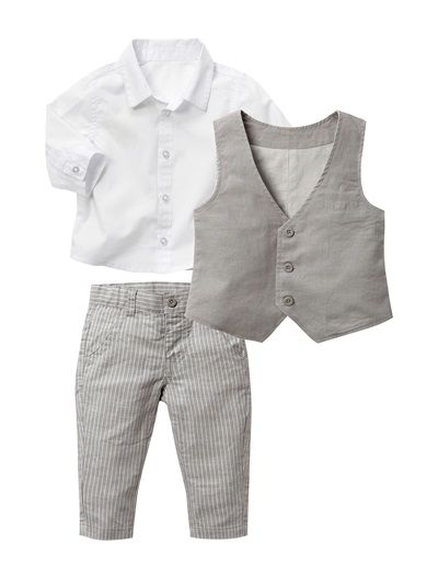 Baby Boy's Formal Outfit GREY MEDIUM SOLID - vertbaudet enfant