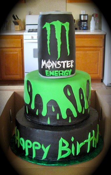 Monster Energy Drink Birthday Cake. Cake is buttercream with fondant accents .