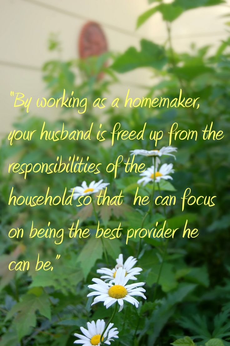 Career Homemaker-Choosing To Be A Stay At Home Wife-Even Without Children! The Key Benefits of Working as a Homemaker  No fighting about who's responsibility it is to look after household duties. A women usually takes on the lion's share of the household duties, even when both have a full-time job outside of the home because of her natural instincts and gifting in this area, yet it can cause resentment and extreme burnout! Less stress = better health.