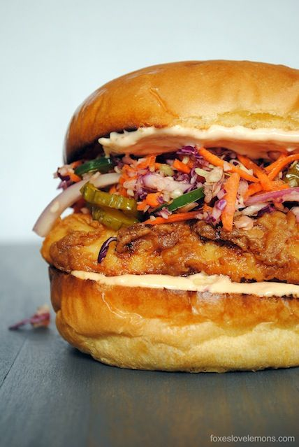 The Best Sandwich You'll Ever Eat - Fried Chicken Sandwiches with Pickle Coleslaw!    foxeslovelemons.com