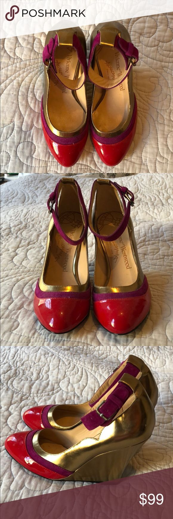 Vuvienne Westwood Purple Multi wedges. Size 36 Brand new still has sales sticker on sole. 100% leather  Style no:95698-6 Upper: leather and suede Color: purple red and bronze  Never been worn, comes with shoe bag Vivienne Westwood Shoes Wedges