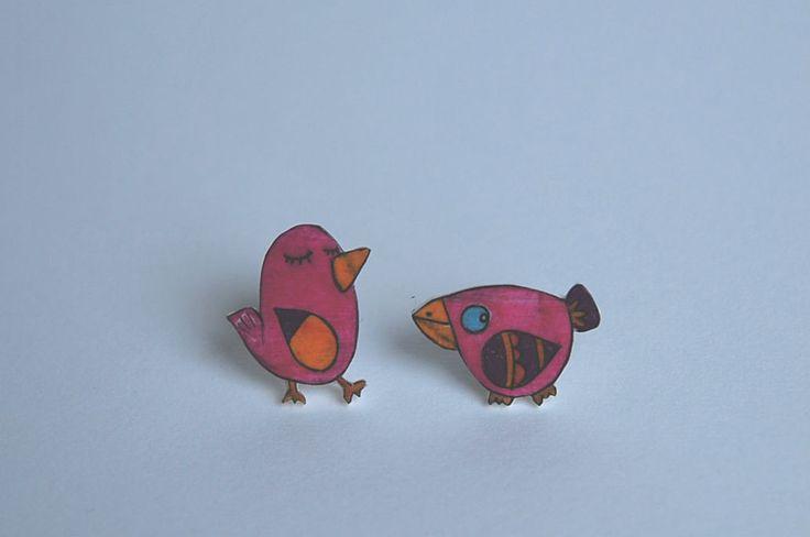 orecchini a lobo con uccellini illustrati, tutte le foto, gli altri articoli e le informazioni sulla mia pagina Fb Lab Liù