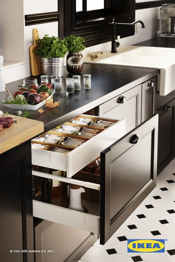 Kitchen organization made easy! Give spices a drawer built specifically for them to help find everything faster! IKEA kitchen interior organizers help you to organize your kitchen drawers and keep them that way.