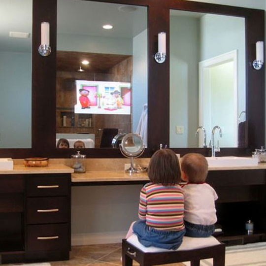 Photo Album For Website Bathroom Mirrors with Built In TVs by Seura Bathroom Mirrors With Built In TVs By Seura With Big Mirror Wall Lamps Wash Basin Wooden Furniture And Chair