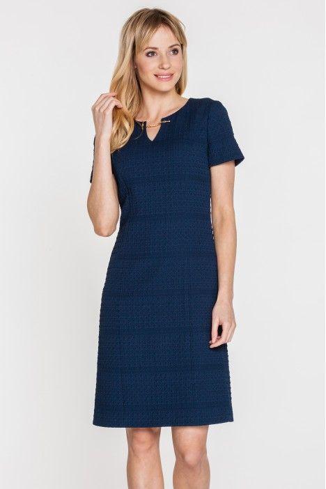 Granatowa sukienka z gufrowanej tkaniny - Potis & Verso - Potis & Verso - Odzież damska Balladine.com - Polska Moda Online