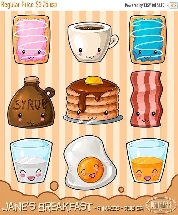 Breakfast Doodles : breakfast, doodles, Kawaii, Breakfast, Clipart, Hearty, Download, Design,, Drawings,, Doodles