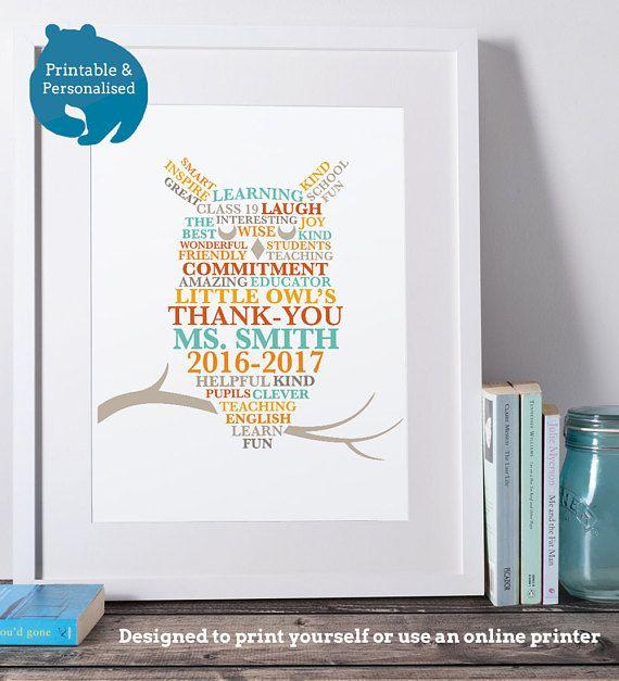 printable personalised teacher gift owl print digital file