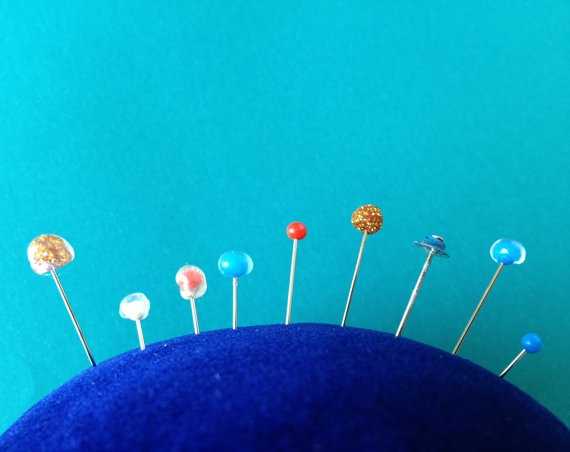 Solar System Pincushion  Planet Pins and Blue by jumbojibbles, $12.00